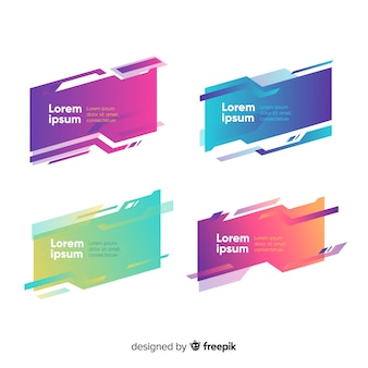 Abstract geometric banner set