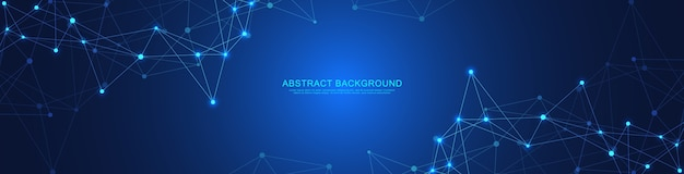 Abstract geometric banner with connecting dots and lines.  global network connection. digital technology with plexus