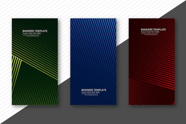 Абстрактные геометрические баннеры набор красочный дизайн