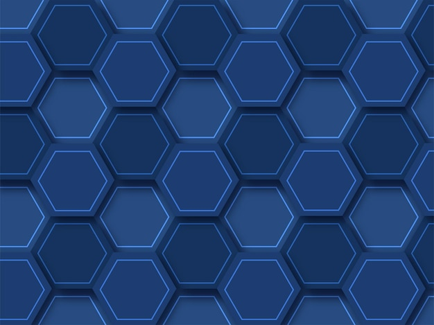 Abstract geometric blue background with hexagon pattern.