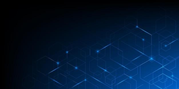 照明効果のある抽象的な幾何学的な青い線。現代技術の未来的なデジタルパターン。六角形のジオメトリ構造。