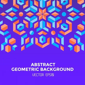 Abstract geometric blue orange red jewels violet background