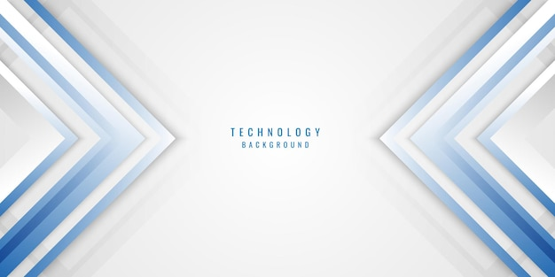 추상적 인 기하학적 파란색, 흰색, 회색 화살표 레이어 배경.