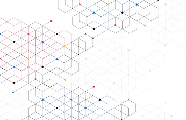 Abstract geometric boxes background dot line connection