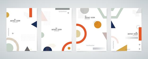 抽象的な幾何学的なパンフレットセット最小限のデザイン装飾背景セット。