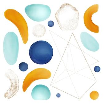 抽象的な幾何学的なブラシと水彩画の形