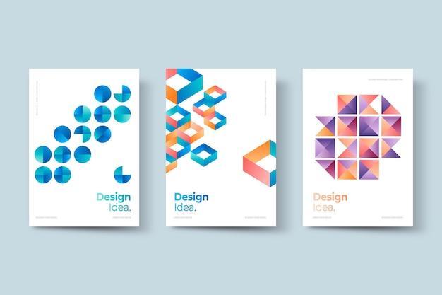 Набор абстрактных геометрических бизнес-обложек
