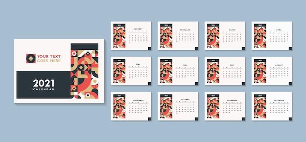 抽象的な幾何学的なカレンダーのデザイン流行のカレンダー