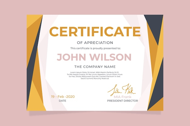 Abstract geometric certificate concept for template
