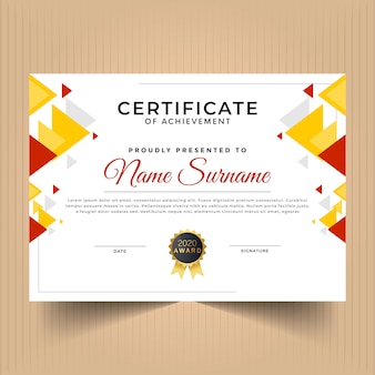 Abstract geometric certificate design template