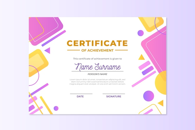 Abstract geometric certificate template concept
