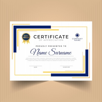 Abstract geometric certificate template design with elements