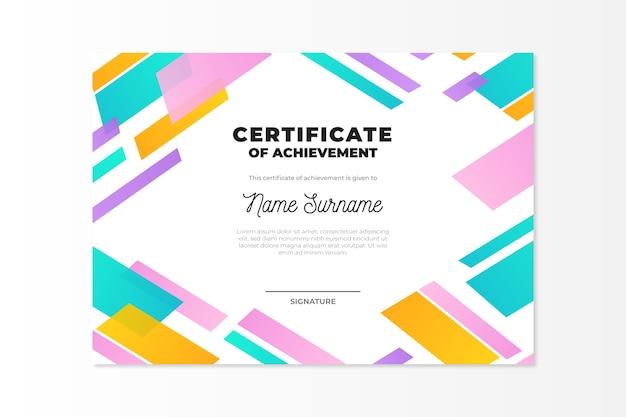Абстрактный геометрический дизайн шаблона сертификата
