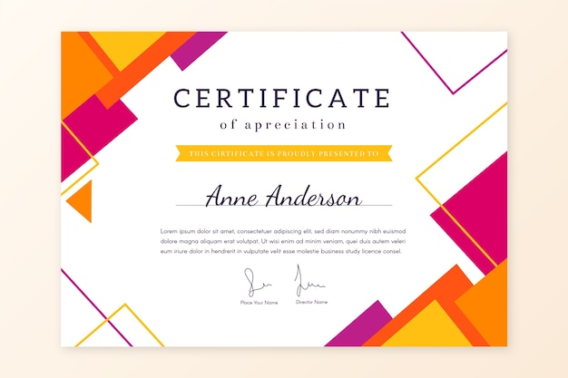 Abstract geometric certificate template theme