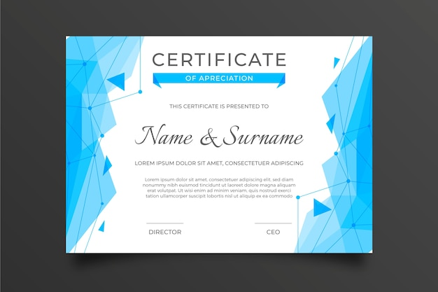 Abstract geometric certificate template with arrows