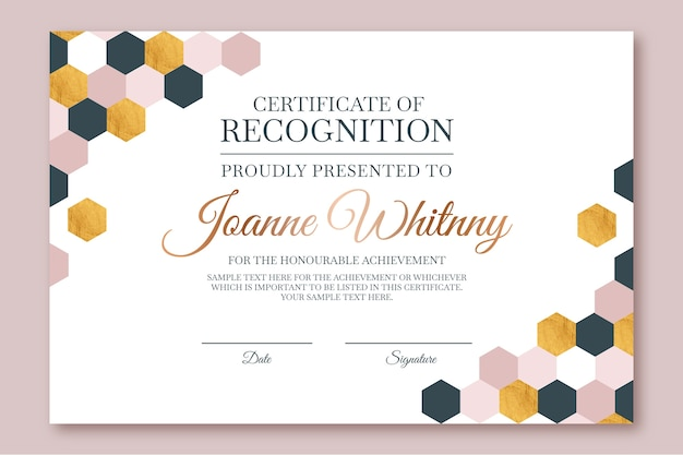 Abstract geometric certificate template with hexagonal shapes