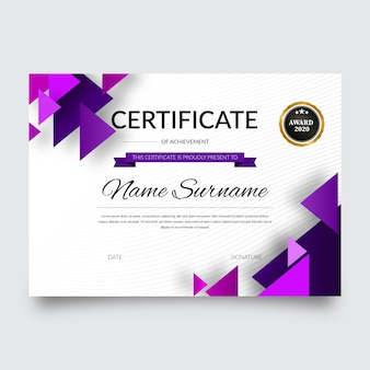 Abstract geometric certificate template