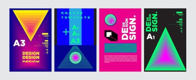 Абстрактный геометрический коллаж дизайн плаката в ярких цветах