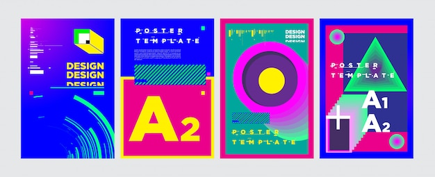 Abstract geometric collage poster design in vivid colors
