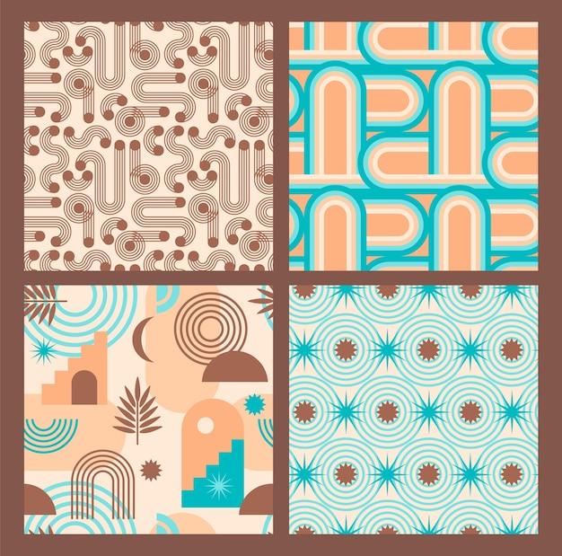 シームレスなパターンの抽象的な幾何学的コレクション