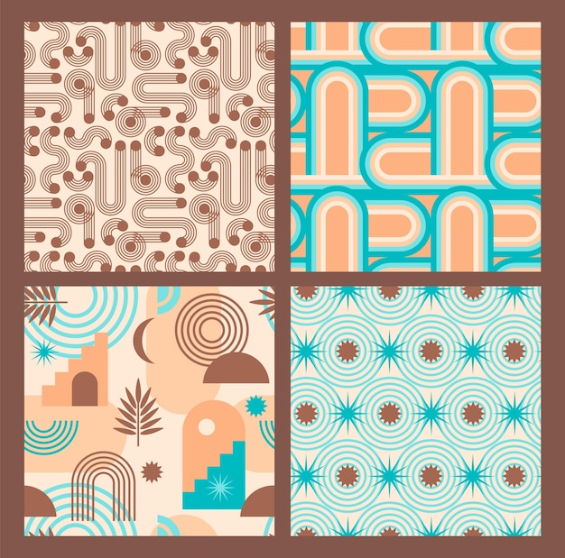 Abstract geometric collection of seamless patterns