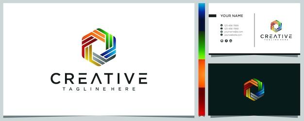 Абстрактный геометрический красочный дизайн логотипа и визитной карточки