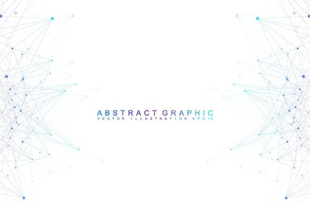あなたのデザインのための接続された線と点を持つ抽象的な幾何学的構成。