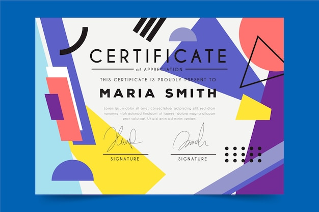 Abstract geometric concept for certificate template