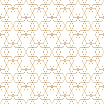 Abstract geometric cube pattern seamless with gold luxury line and white background.