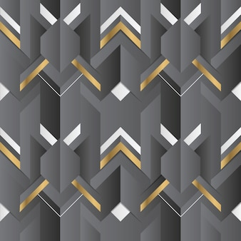 Abstract geometric decor stripes black and golden element
