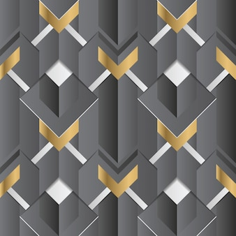 Abstract geometric decor stripes black and golden seamless pattern Premium Vector