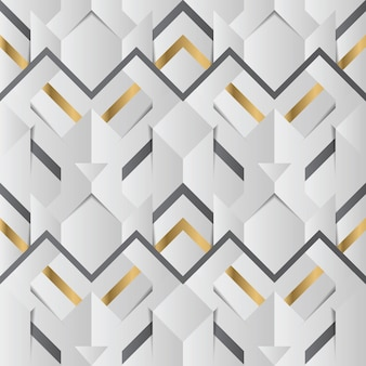Abstract geometric decor stripes white and golden seamless pattern