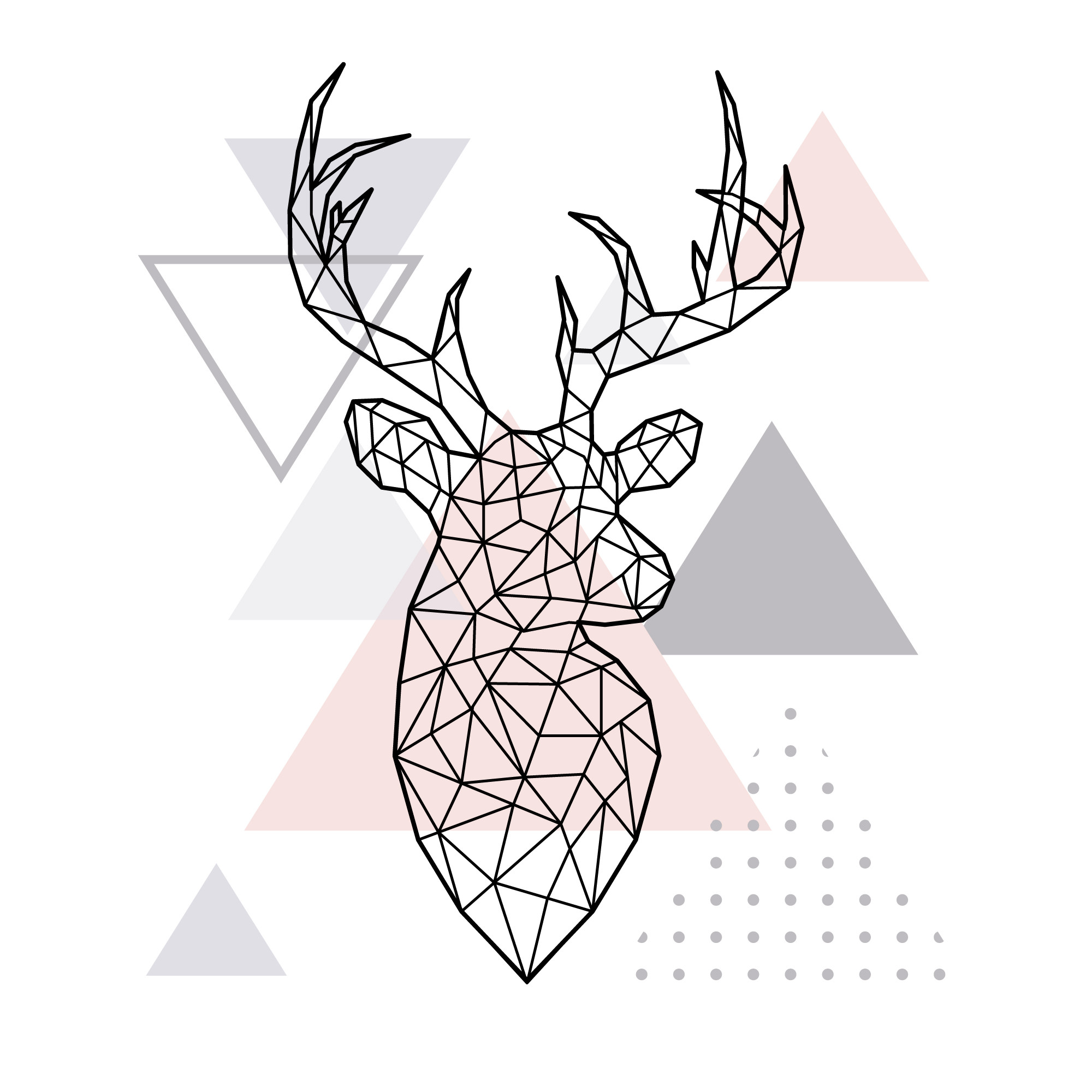 Abstract geometric deer head.