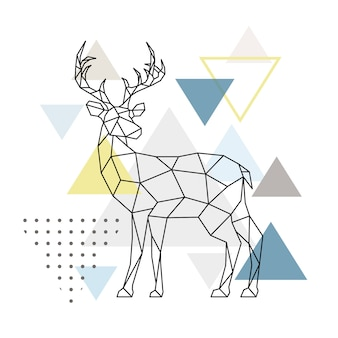 Abstract geometric deer. Side view.