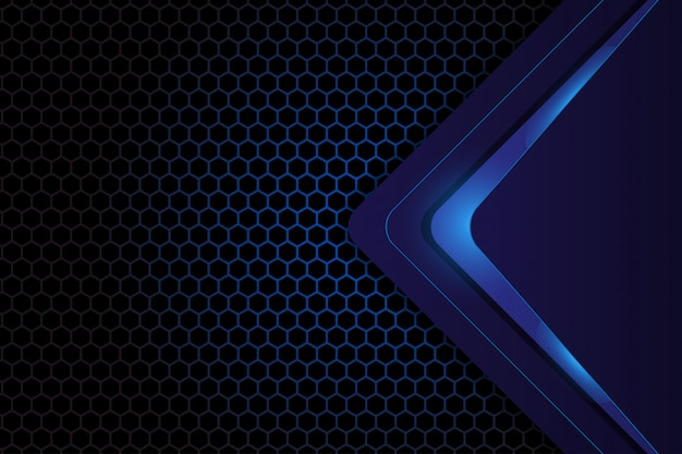Abstract geometric design on dark blue hexagon background