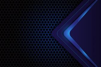 Abstract geometric design on dark blue hexagon background
