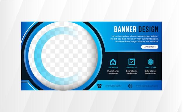 抽象的な幾何学的なデザインテンプレートバナーは、水平レイアウトを使用しています。明るい青のグラデーション要素を持つ濃い青の背景。写真のサークルスペース。