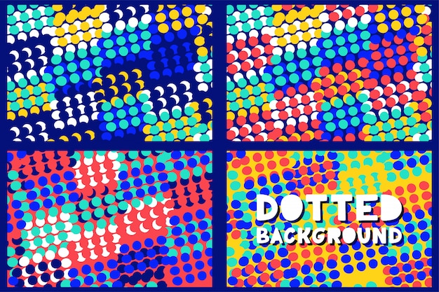 Abstract geometric dotted pattern background set for business brochure cover design.