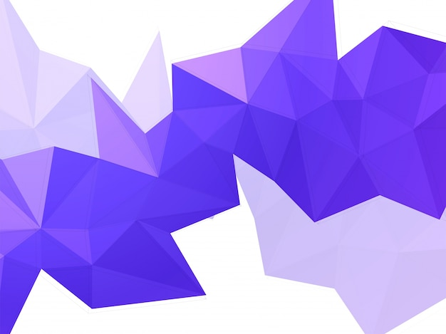 Abstract geometric element in purple low poly shape.