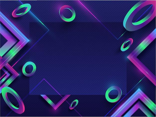 Абстрактные геометрические элементы украшены на синем фоне бесшовные полосатый узор с пространством для вашего сообщения.