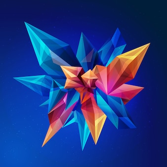 Abstract geometric figure origami on a dark blue