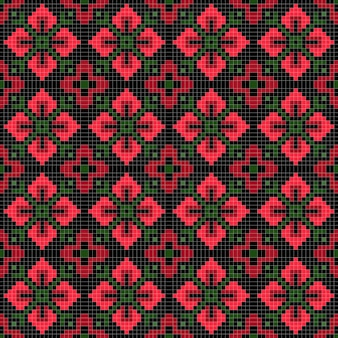 抽象的な幾何学的な花のシームレスなパターン。
