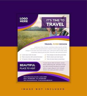 旅行業界向けの抽象的な幾何学的なチラシテンプレートデザイン写真のコラージュの曲線空間広告