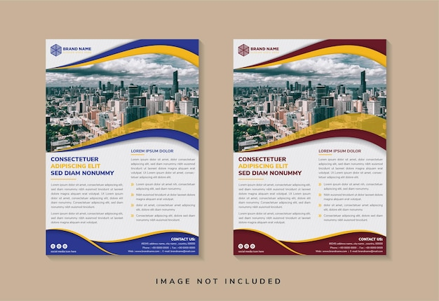 Abstract geometric flyer template design use space for photo. vertical layout.