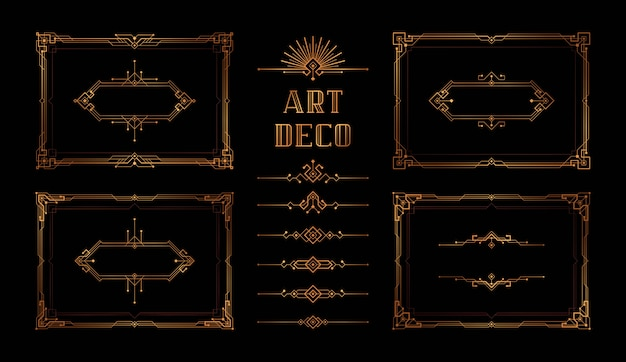 Abstract geometric frame set, the great gatsby vector