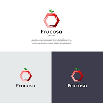 Abstract geometric fruit shape logo design template