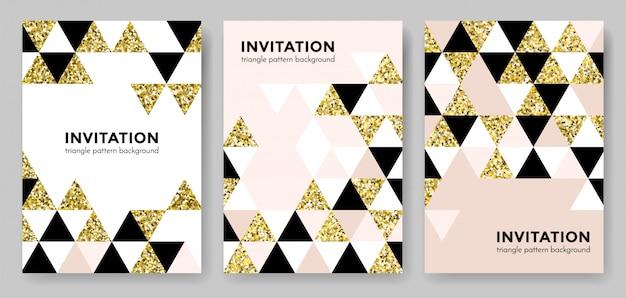 正方形と三角形のモダンなトレンディな黄金要素の招待状カードのデザインテンプレートの抽象的な幾何学的な金パターン背景。幾何学の背景またはゴールドのキラキラテクスチャポスターの背景