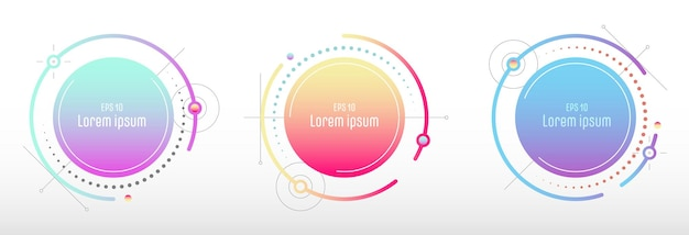Abstract geometric gradient round badges tech design cover set. lines design of structure tag form artwork background.