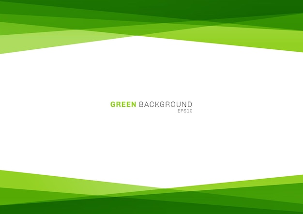 Abstract geometric green color shiny overlapping layer on white background