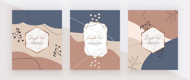 Abstract geometric hand painting cards with marble frames, nude, pink, blue and brown shapes.